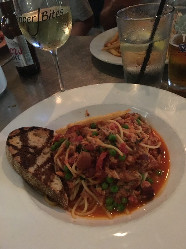 A new SB menu item, crab spaghetti in marinara sauce, served with a wheel of parmesan and crostini. Very flavorful, and not a heavy pasta dish.